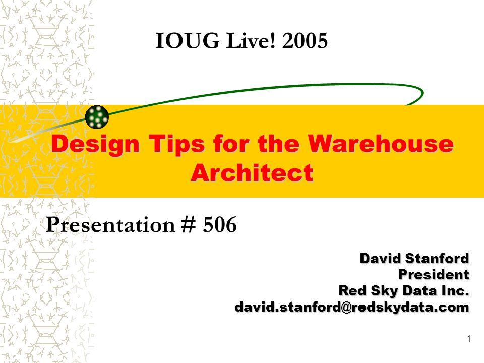 1 Presentation # 506 David Stanford President Red Sky Data Inc.