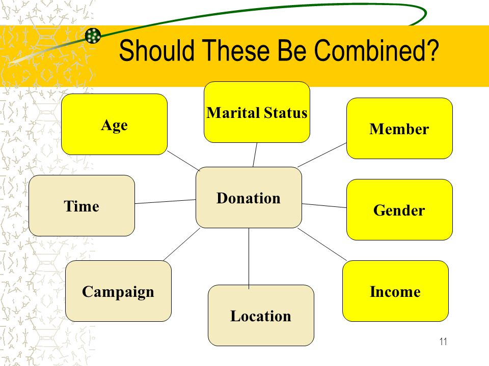 11 Should These Be Combined? Donation Member IncomeCampaign Time Gender Marital Status Location Age