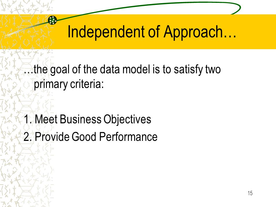 15 Independent of Approach… …the goal of the data model is to satisfy two primary criteria: 1. Meet Business Objectives 2. Provide Good Performance