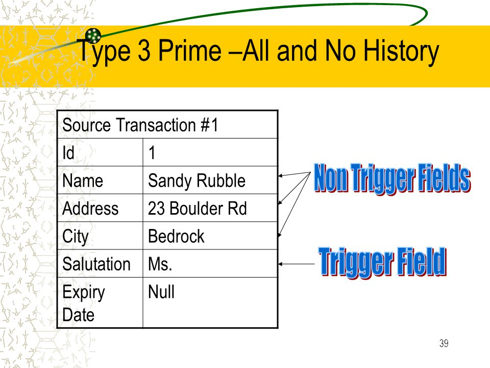 39 Type 3 Prime –All and No History Source Transaction #1 Id1 NameSandy Rubble Address23 Boulder Rd CityBedrock SalutationMs.