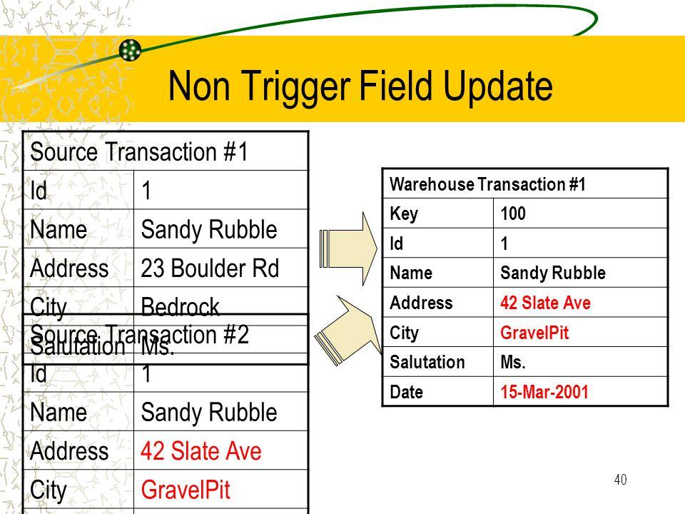 40 Non Trigger Field Update Source Transaction #1 Id1 NameSandy Rubble Address23 Boulder Rd CityBedrock SalutationMs.