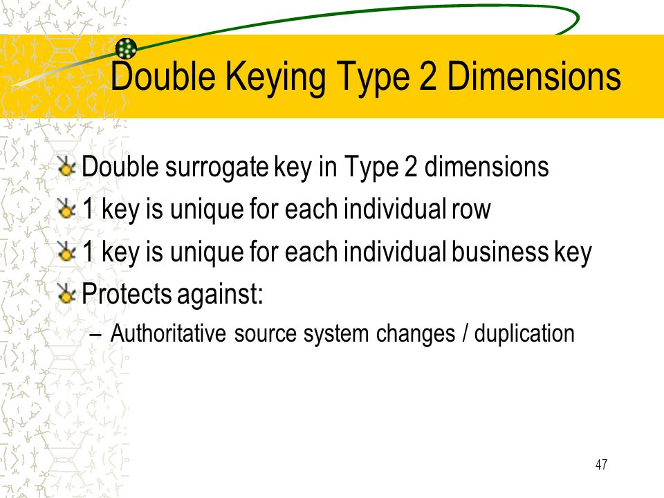 47 Double Keying Type 2 Dimensions Double surrogate key in Type 2 dimensions 1 key is unique for each individual row 1 key is unique for each individu