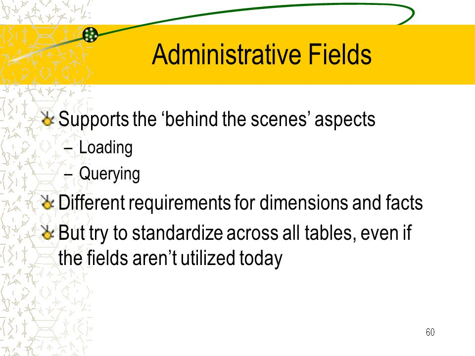 60 Administrative Fields Supports the 'behind the scenes' aspects –Loading –Querying Different requirements for dimensions and facts But try to standardize across all tables, even if the fields aren't utilized today