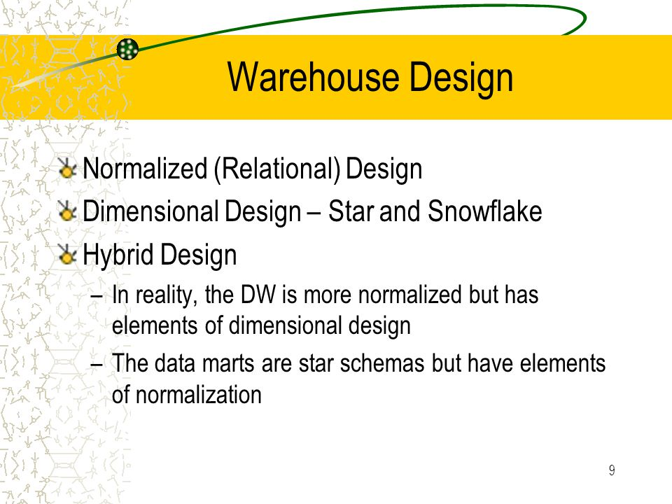 9 Warehouse Design Normalized (Relational) Design Dimensional Design – Star and Snowflake Hybrid Design –In reality, the DW is more normalized but has