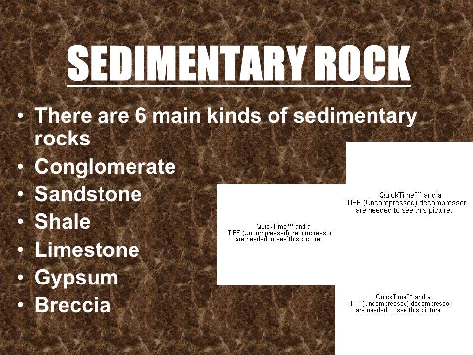 SEDIMENTARY ROCK There are 6 main kinds of sedimentary rocks Conglomerate Sandstone Shale Limestone Gypsum Breccia