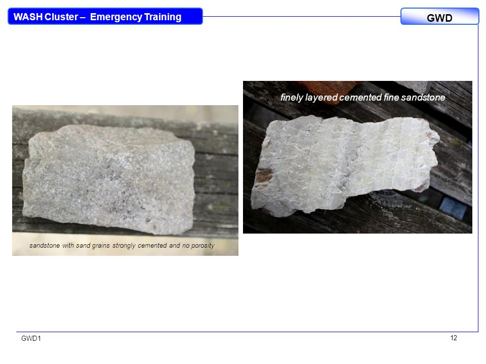 WASH Cluster – Emergency Training GWD GWD1 12 sandstone with sand grains strongly cemented and no porosity finely layered cemented fine sandstone