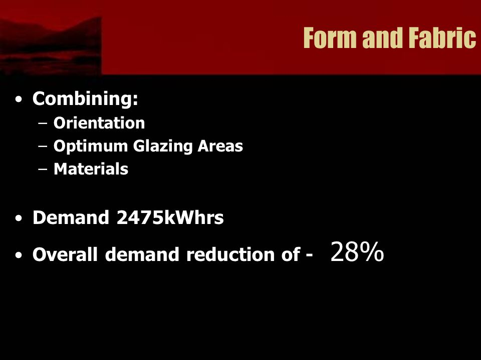Form and Fabric Combining: –Orientation –Optimum Glazing Areas –Materials Demand 2475kWhrs Overall demand reduction of - 28%