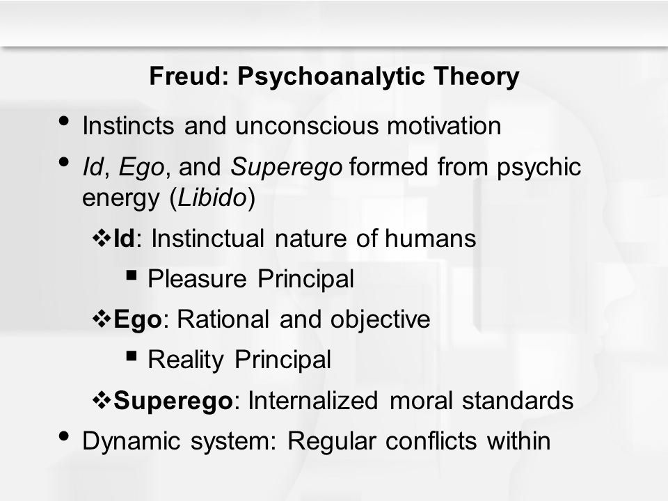 Freud: Psychoanalytic Theory Instincts and unconscious motivation Id, Ego, and Superego formed from psychic energy (Libido)  Id: Instinctual nature o