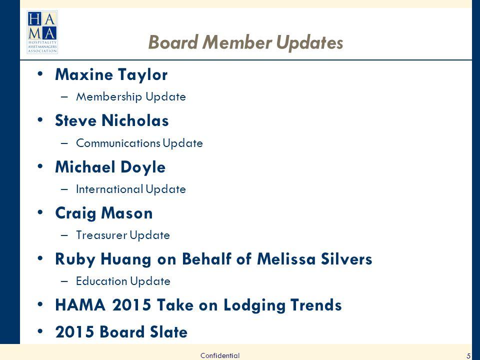 Board Member Updates Maxine Taylor –Membership Update Steve Nicholas –Communications Update Michael Doyle –International Update Craig Mason –Treasurer