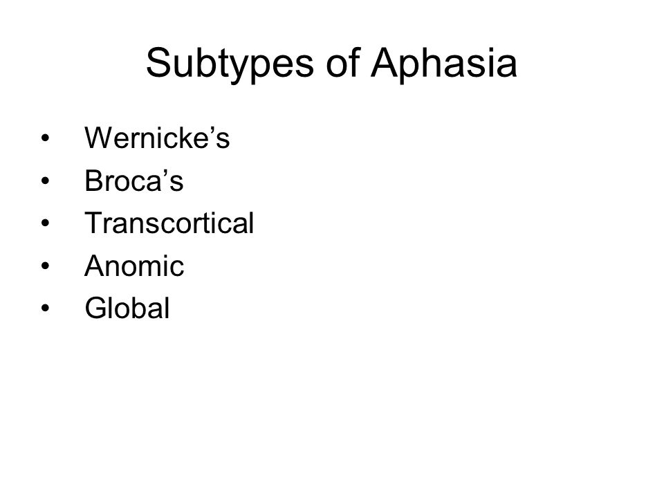 Subtypes of Aphasia Wernicke's Broca's Transcortical Anomic Global