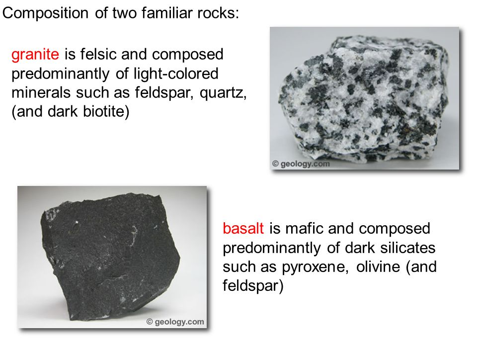granite is felsic and composed predominantly of light-colored minerals such as feldspar, quartz, (and dark biotite) basalt is mafic and composed predo