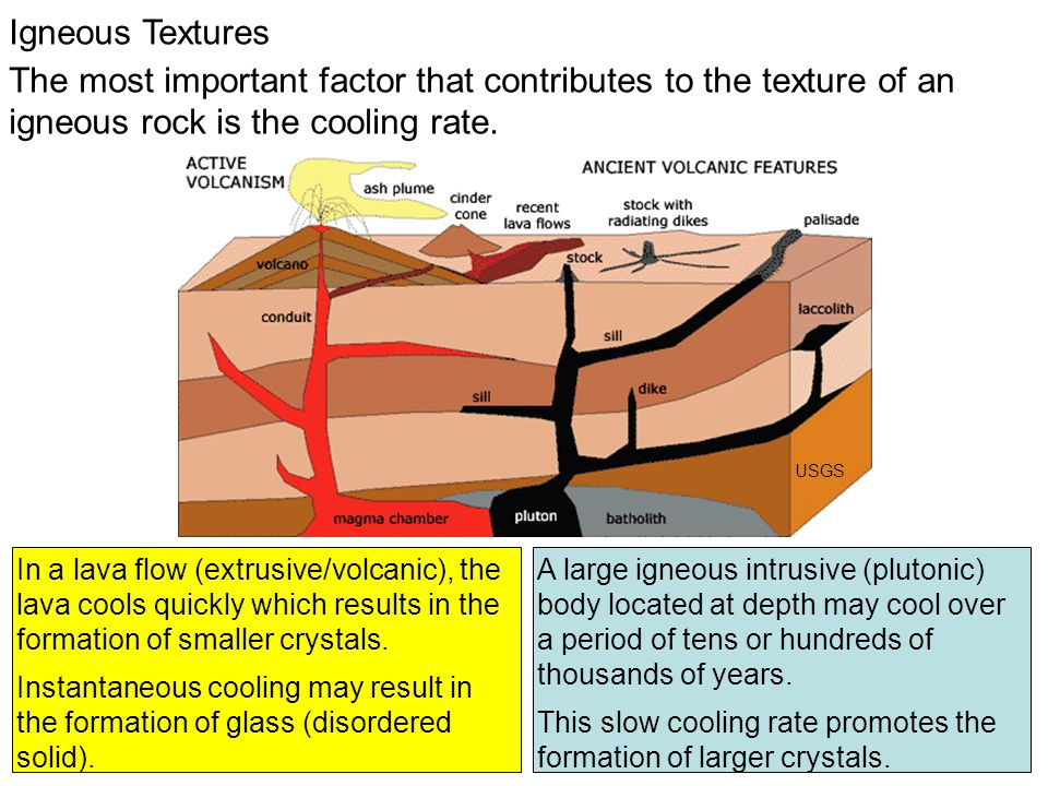 Igneous Textures The most important factor that contributes to the texture of an igneous rock is the cooling rate. A large igneous intrusive (plutonic