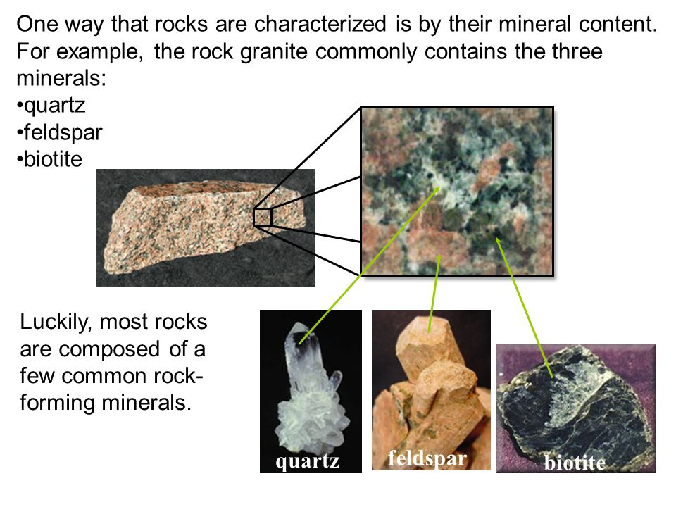 One way that rocks are characterized is by their mineral content. For example, the rock granite commonly contains the three minerals: quartz feldspar