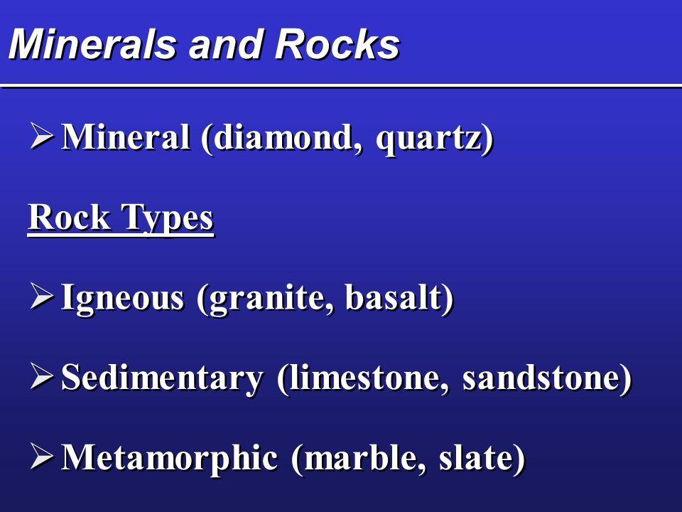 Minerals and Rocks  Mineral (diamond, quartz) Rock Types  Igneous (granite, basalt)  Sedimentary (limestone, sandstone)  Metamorphic (marble, slate)