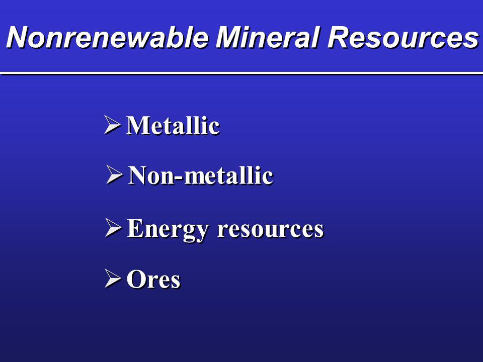 Nonrenewable Mineral Resources  Metallic  Non-metallic  Energy resources  Ores