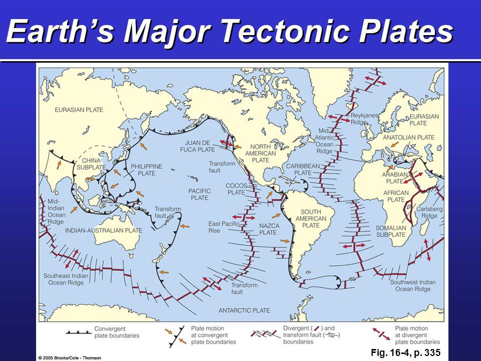 Earth's Major Tectonic Plates Fig. 16-4, p. 335