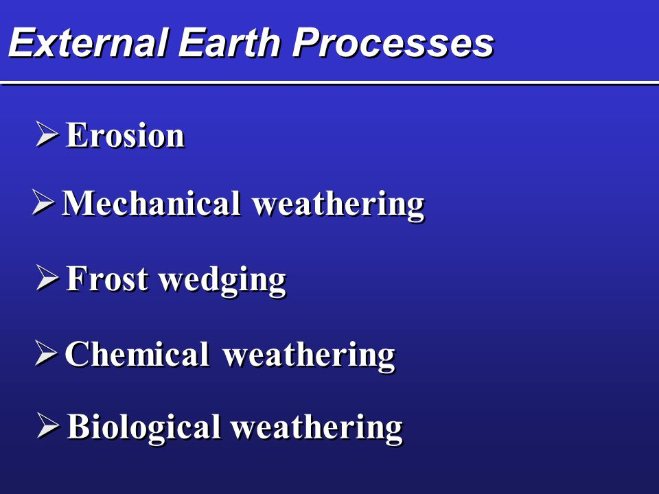 External Earth Processes  Erosion  Mechanical weathering  Frost wedging  Chemical weathering  Biological weathering