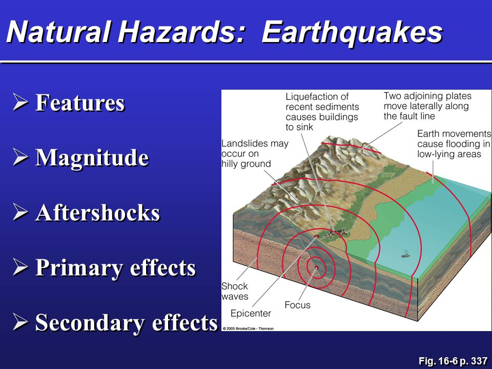 Natural Hazards: Earthquakes  Features  Magnitude  Aftershocks  Primary effects  Secondary effects Fig. 16-6 p. 337