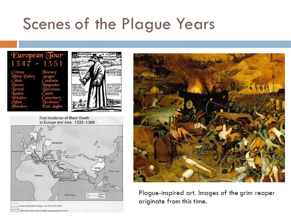 Scenes of the Plague Years Plague-inspired art. Images of the grim reaper originate from this time.