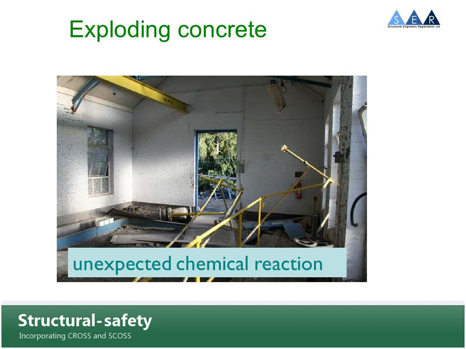 Exploding concrete unexpected chemical reaction