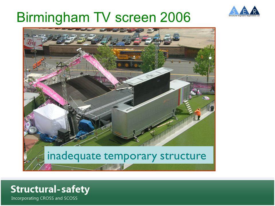 Birmingham TV screen 2006 inadequate temporary structure