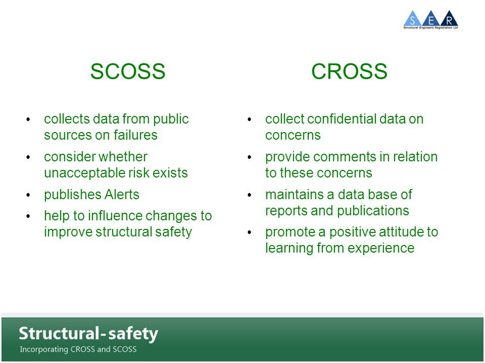 SCOSS collects data from public sources on failures consider whether unacceptable risk exists publishes Alerts help to influence changes to improve structural safety CROSS collect confidential data on concerns provide comments in relation to these concerns maintains a data base of reports and publications promote a positive attitude to learning from experience