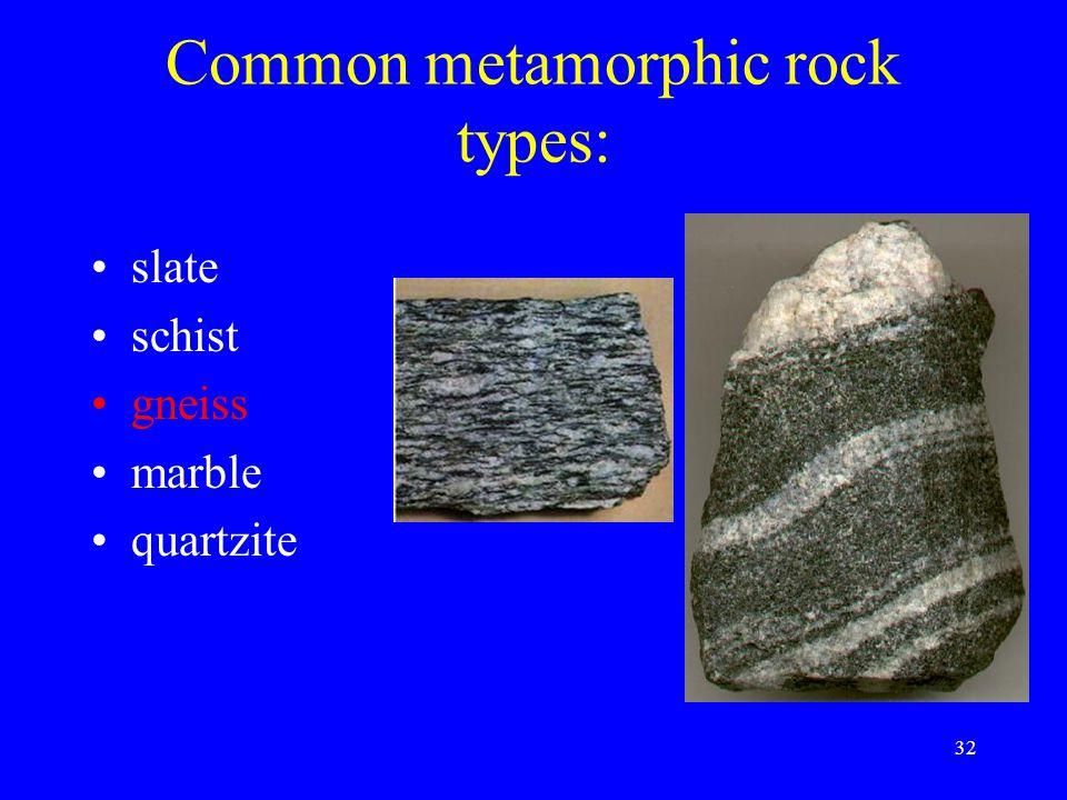 32 Common metamorphic rock types: slate schist gneiss marble quartzite