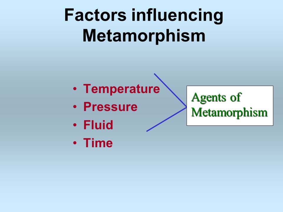 Factors influencing Metamorphism Temperature Pressure Fluid Time Agents of Metamorphism