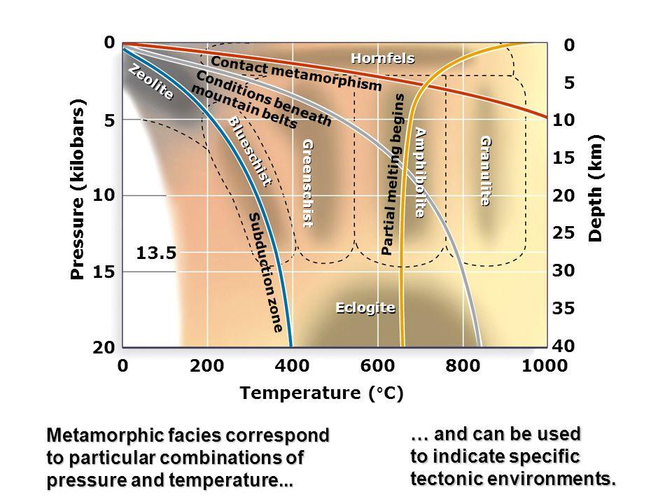 Pressure (kilobars) Temperature (°C) Depth (km) 20 15 10 5 0 02004006008001000 40 35 30 25 20 15 10 5 0 Hornfels Eclogite Zeolite Blueschist Greenschist Amphibolite Granulite Partial melting begins Contact metamorphism Conditions beneath mountain belts Subduction zone 13.5 Metamorphic facies correspond to particular combinations of pressure and temperature...