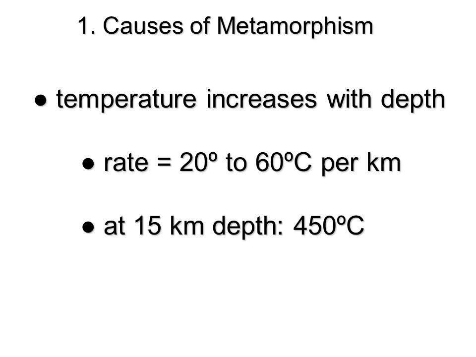 1. Causes of Metamorphism ● temperature increases with depth ● rate = 20º to 60ºC per km ● at 15 km depth: 450ºC