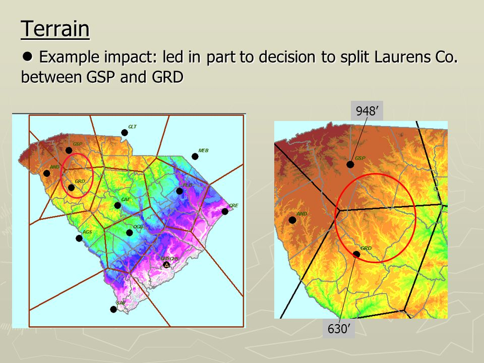 Terrain ● Example impact: led in part to decision to split Laurens Co.