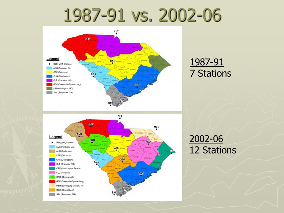 1987-91 vs. 2002-06 1987-91 7 Stations 2002-06 12 Stations
