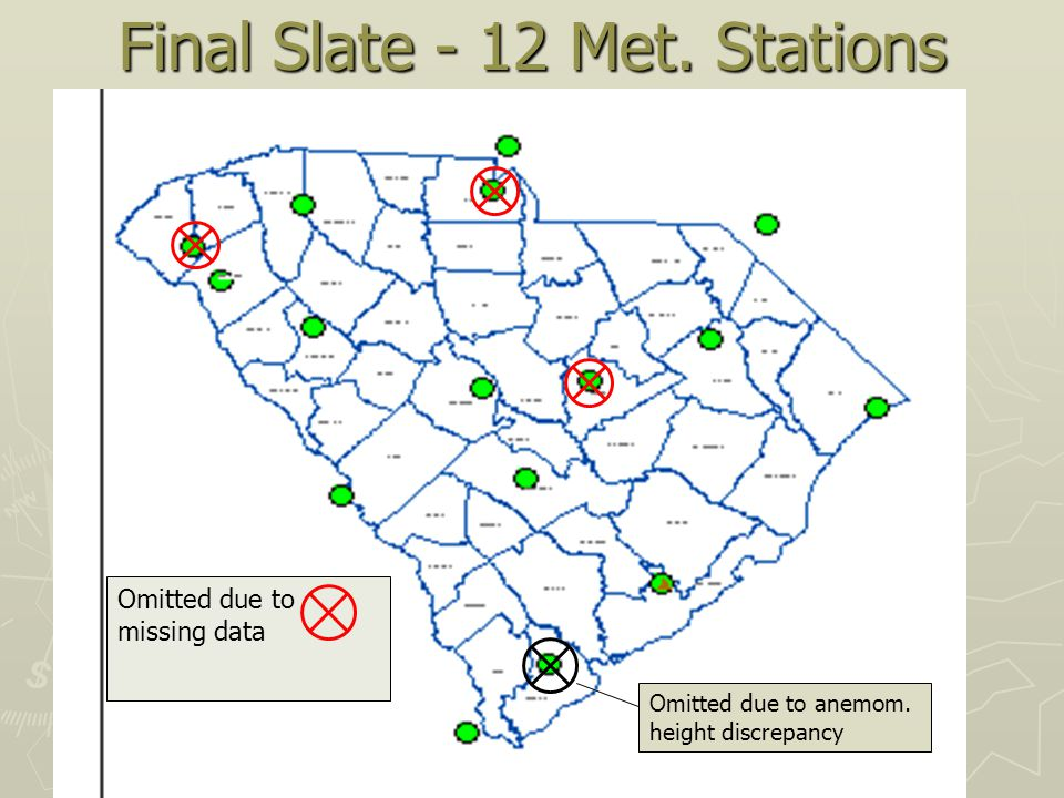 Final Slate - 12 Met. Stations Omitted due to missing data Omitted due to anemom.