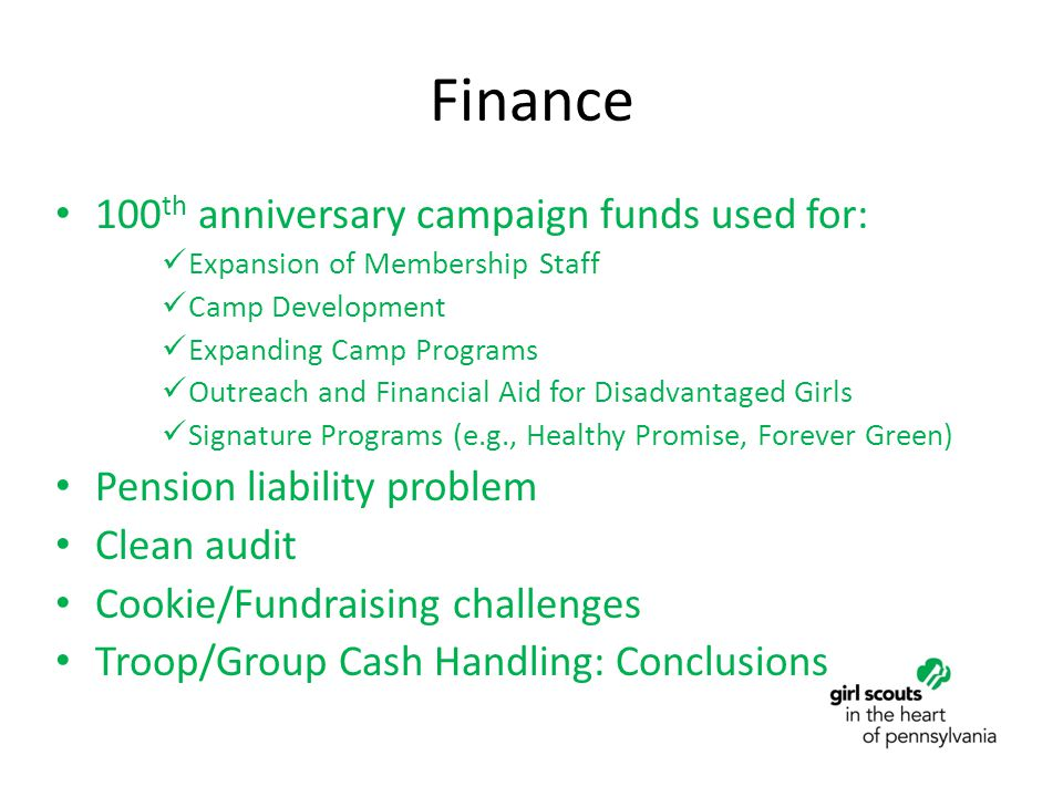 Finance 100 th anniversary campaign funds used for: Expansion of Membership Staff Camp Development Expanding Camp Programs Outreach and Financial Aid