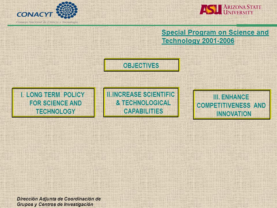 Dirección Adjunta de Coordinación de Grupos y Centros de Investigación II.INCREASE SCIENTIFIC & TECHNOLOGICAL CAPABILITIES III. ENHANCE COMPETITIVENES