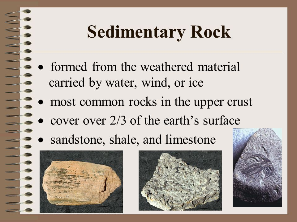 Sedimentary Rock  formed from the weathered material carried by water, wind, or ice  most common rocks in the upper crust  cover over 2/3 of the earth's surface  sandstone, shale, and limestone