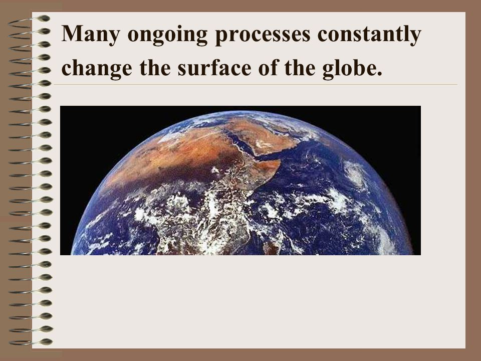 Many ongoing processes constantly change the surface of the globe.