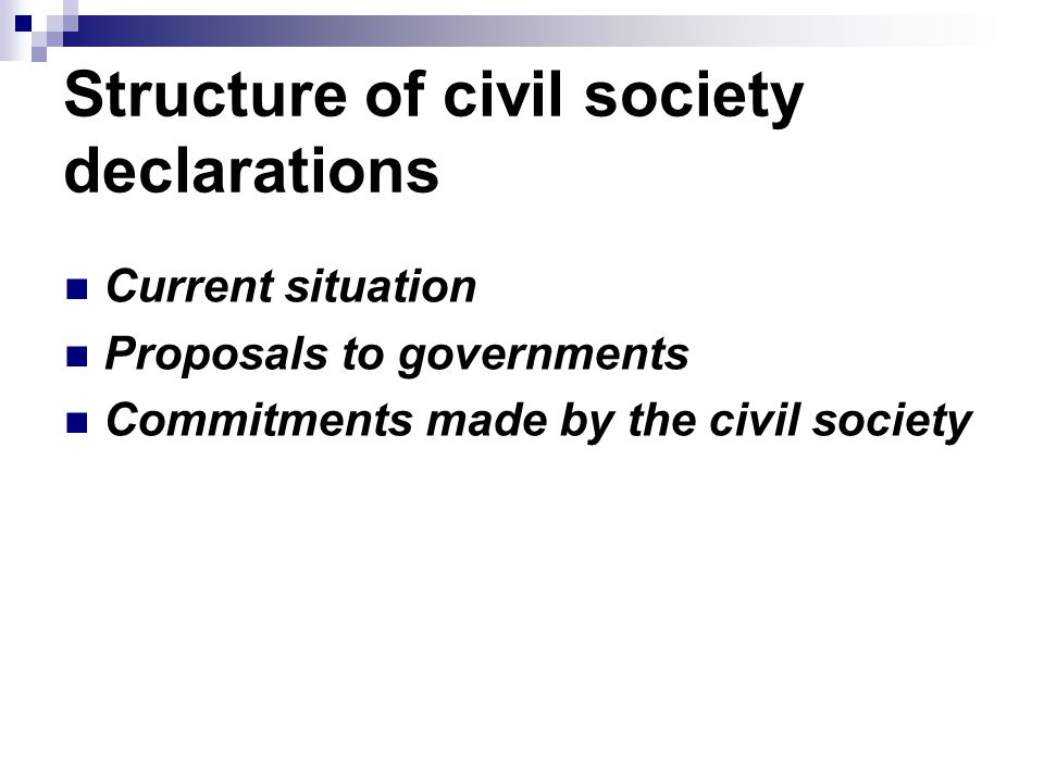 Structure of civil society declarations Current situation Proposals to governments Commitments made ​​ by the civil society