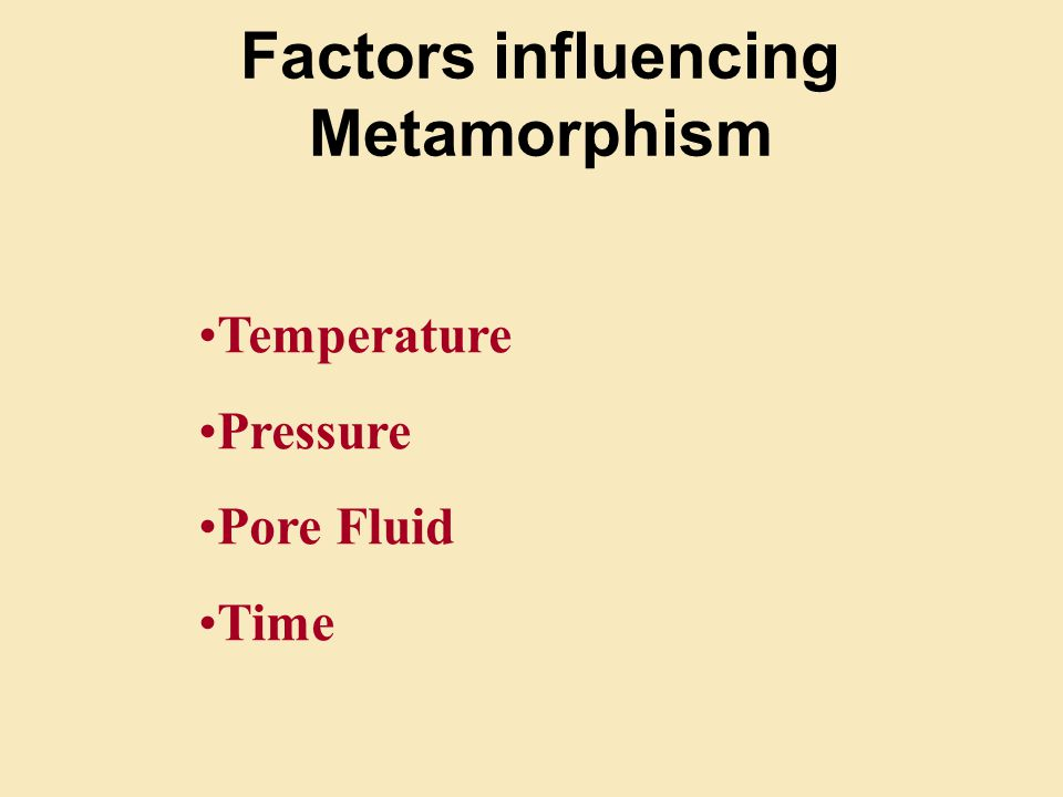 Factors influencing Metamorphism Temperature Pressure Pore Fluid Time