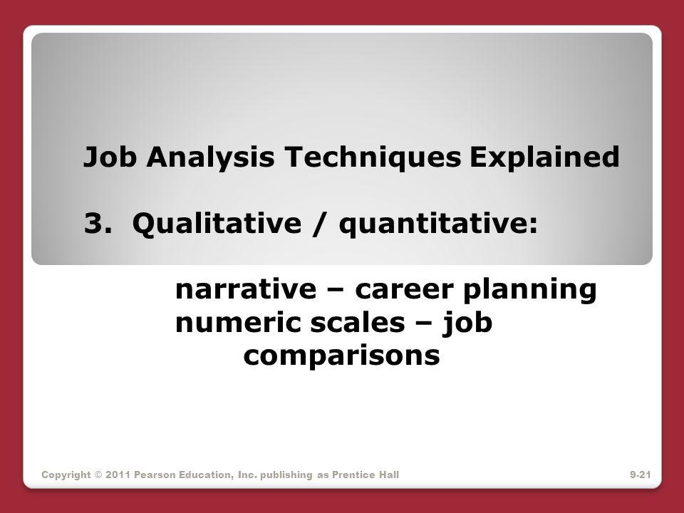 Job Analysis Techniques Explained 3. Qualitative / quantitative: narrative – career planning numeric scales – job comparisons Copyright © 2011 Pearson