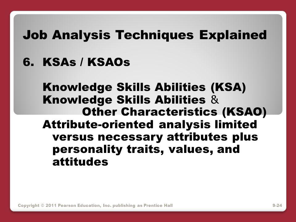 Copyright © 2011 Pearson Education, Inc. publishing as Prentice Hall Job Analysis Techniques Explained 6.KSAs / KSAOs Knowledge Skills Abilities (KSA)
