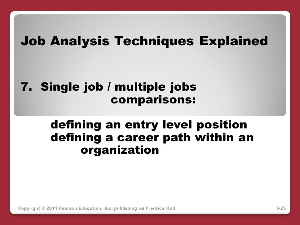 Copyright © 2011 Pearson Education, Inc. publishing as Prentice Hall Job Analysis Techniques Explained 7.Single job / multiple jobs comparisons: defin