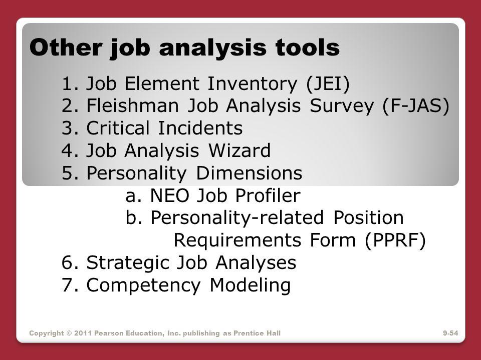 Copyright © 2011 Pearson Education, Inc. publishing as Prentice Hall Other job analysis tools 1. Job Element Inventory (JEI) 2. Fleishman Job Analysis