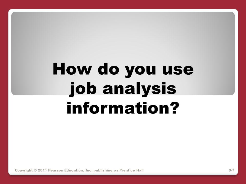 Copyright © 2011 Pearson Education, Inc.publishing as Prentice Hall Job Analysis Uses 1.