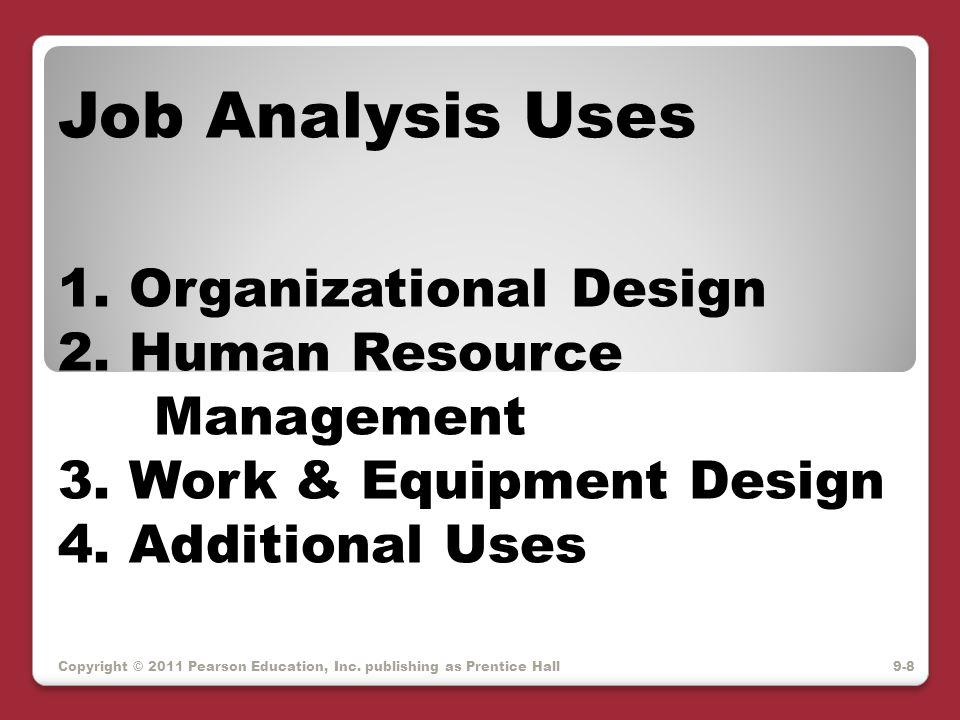 Copyright © 2011 Pearson Education, Inc. publishing as Prentice Hall Job Analysis Uses 1. Organizational Design 2. Human Resource Management 3. Work &