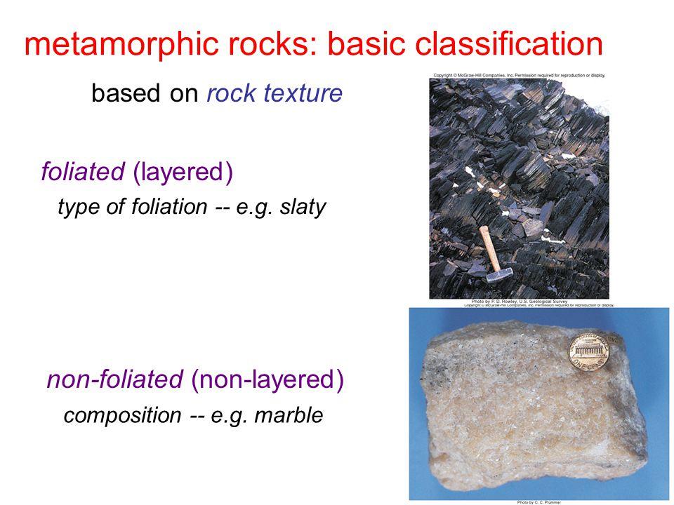 metamorphic rocks: basic classification foliated (layered) non-foliated (non-layered) type of foliation -- e.g.
