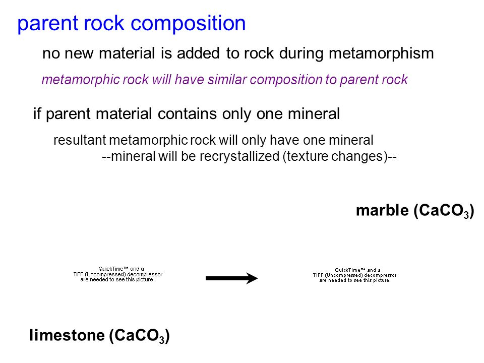 no new material is added to rock during metamorphism if parent material contains only one mineral limestone marble (CaCO 3 ) limestone (CaCO 3 ) parent rock composition metamorphic rock will have similar composition to parent rock resultant metamorphic rock will only have one mineral --mineral will be recrystallized (texture changes)--