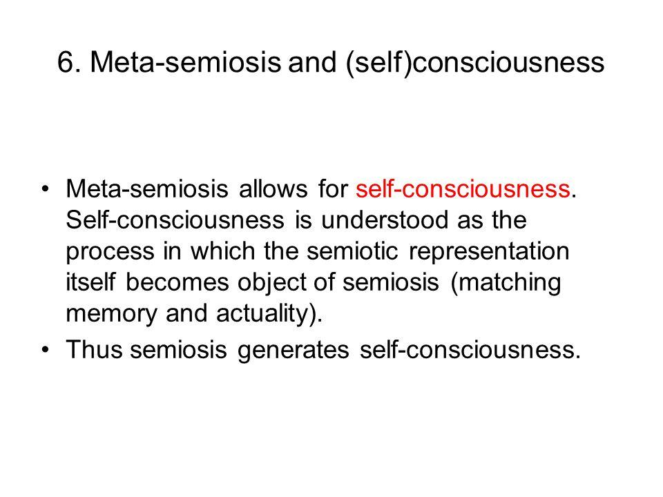 6. Meta-semiosis and (self)consciousness Meta-semiosis allows for self-consciousness.
