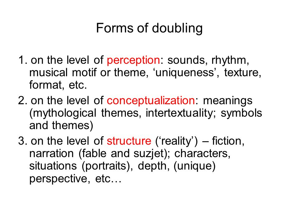 Forms of doubling 1.