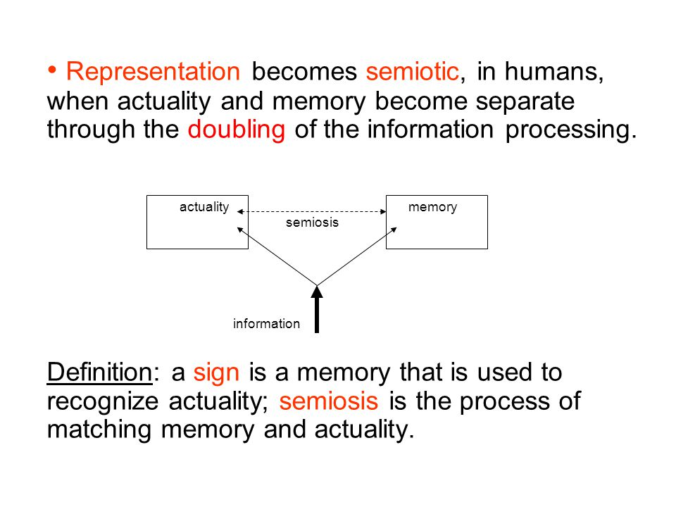 Representation becomes semiotic, in humans, when actuality and memory become separate through the doubling of the information processing.